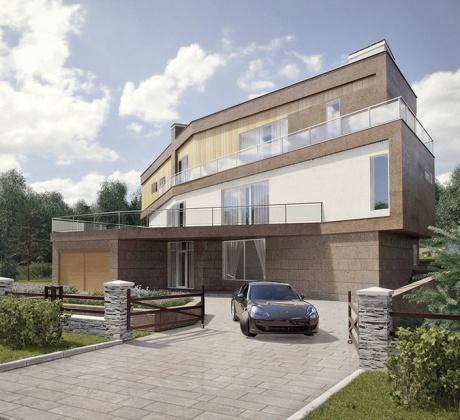 Фасады дома и ландшафтный дизайн в КП «Кристалл Истра»